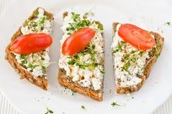 Healthy granary bread. Healthy tasty organic granary bread with cream cheese stock photography