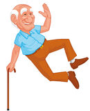Healthy grandfather jumping Stock Photo