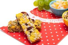 Healthy granola bars. Isolated on white Royalty Free Stock Photo