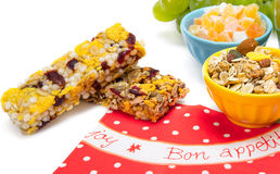 Healthy granola bars. Isolated on white Stock Images