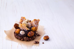 Healthy granola cookie with banana cocoa cream and nuts Stock Photo