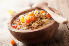 Healthy granola with dried fruits for breakfast Stock Photo