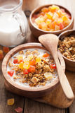 Healthy granola with dry fruits for breakfast Royalty Free Stock Images