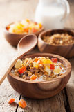 Healthy granola with dry fruits for breakfast Stock Photos