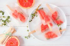 Healthy grapefruit and thyme popsicles, above view table scene against white wood. Healthy grapefruit and thyme popsicles on a plate, above view table scene stock image