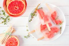 Healthy grapefruit and thyme popsicles, top view table scene against white wood. Healthy grapefruit and thyme popsicles on a plate, top view table scene against royalty free stock photography