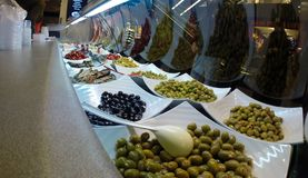 Healthy greek food bar from behind Royalty Free Stock Photography