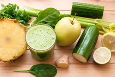 Healthy green detox juice Stock Photos