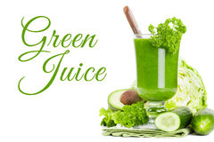 Healthy green juice smoothie Stock Images