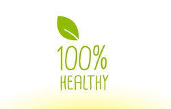 100% healthy green leaf text concept logo icon design. 100% healthy green leaf text concept logo vector creative company icon design template modern background Stock Photography