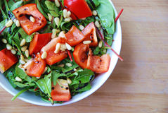 Healthy green leaves paprika pine nuts salad Royalty Free Stock Photos