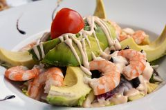 Healthy Green Mixed Salad With Cooked Shrimp Royalty Free Stock Photo