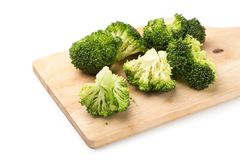 Healthy Green Organic Raw Broccoli Florets Ready for Cooking.  Stock Images