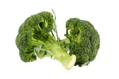 Healthy Green Organic Raw Broccoli Florets Ready for Cooking.  Royalty Free Stock Images