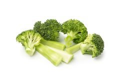 Healthy Green Organic Raw Broccoli Florets Ready for Cooking.  Stock Image