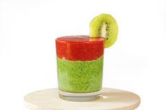 Healthy green and red smoothie with  strawberry,kiwi,apples,spin Royalty Free Stock Image