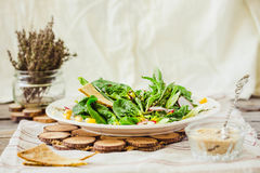 Healthy green salad with avocado, mangold leaves and crispy crac Royalty Free Stock Photography