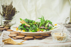 Healthy green salad with avocado, mangold leaves.Toning Royalty Free Stock Images