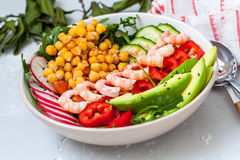 Healthy green salad with avocado and shrimp Royalty Free Stock Photo