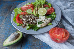 Healthy green salad with boiled cod fish, lentils, tahini, parsley, tomatoes Stock Image