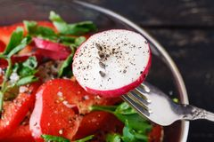 Healthy green salad, with tomatoes, pepper, onion and rucola Royalty Free Stock Images