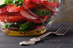 Healthy green salad, with tomatoes, pepper, onion and rucola Stock Photos