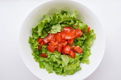 Healthy green salad, tomatoes Stock Photography