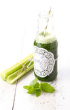 Healthy green smoothie drink with celery Royalty Free Stock Images
