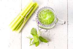 Healthy green smoothie drink with celery Royalty Free Stock Photo