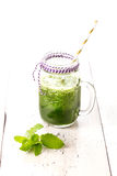 Healthy green smoothie drink with celery Stock Photos