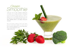 Healthy Green Smoothie with Fresh Fruit and Vegatables Isolated Stock Photo