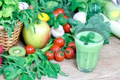 Healthy green smoothie Stock Images