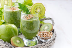 Healthy green smoothie with sprouts and fresh ingredients Stock Images