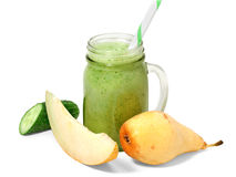 Healthy green smoothie with straw stock image