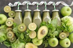 Healthy green smoothies stock photos