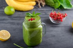 Healthy green spinach smoothie in a jar mug decorated with mint and red currant berries with ingridients on the black wooden table. Selective focus. Detox royalty free stock image