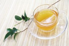 Healthy Green Tea Cup. On Bamboo Tray Royalty Free Stock Images