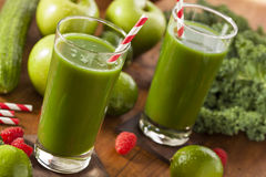 Healthy Green Vegetable and Fruit Smoothi Juice Royalty Free Stock Photos