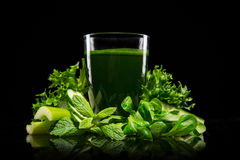 Healthy green vegetable smoothie Stock Photos