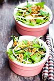 Healthy  green vegetarian salad with zucchini spaghetti and avoc Stock Photo