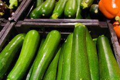 Green zucchini sold at the supermarket royalty free stock images