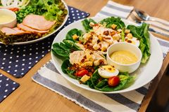 Healthy Grilled Chicken Caesar Salad with Cheese, Croutons, Green Oak, Boiled Egg and Crispy Bacon. stock photography