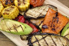 Healthy Grilled Food. BBQ Vegetables Assortment On The Board. Stock Images