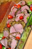 Healthy grilled lean medium rare beef steak cut through Stock Images