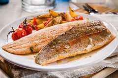 Healthy grilled or oven-baked fresh salmon fillets Stock Image
