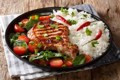Free Healthy Grilled Pork Steak With Rice And Fresh Vegetables Close-up On A Plate. Horizontal Stock Images - 138278174