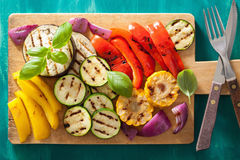 Healthy grilled vegetables on chopping board Royalty Free Stock Photography