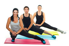 Healthy group of people doing fitness exercises stock photography