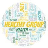 Healthy Group word cloud. Wordcloud made with text only stock illustration
