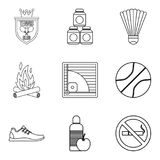 Healthy habit icons set, outline style. Healthy habit icons set. Outline set of 9 healthy habit vector icons for web  on white background Royalty Free Stock Image